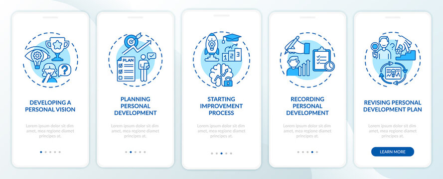 Personal development steps blue onboarding mobile app page screen with concepts. Self-improvement walkthrough 5 steps graphic instructions. UI, UX, GUI vector template with linear color illustrations
