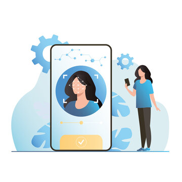 Biometric systems of authentication, identification, user authorization, identity card. Woman, girl unlocked smartphone in face id with biometric data to enter. Face recognition 2d, 3d.