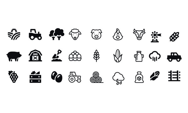 Farming and Agriculture Icons vector design