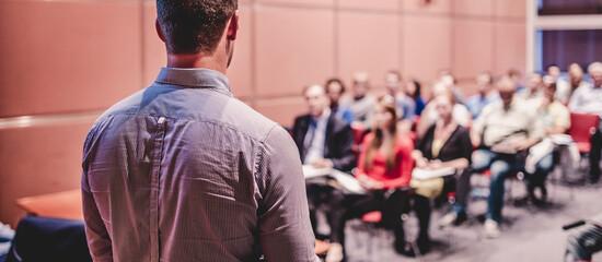 Obraz Speaker Giving a Talk at Business Conference and Presentation. - fototapety do salonu