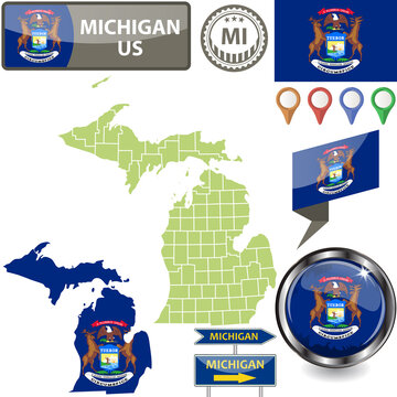 Map of Michigan, US