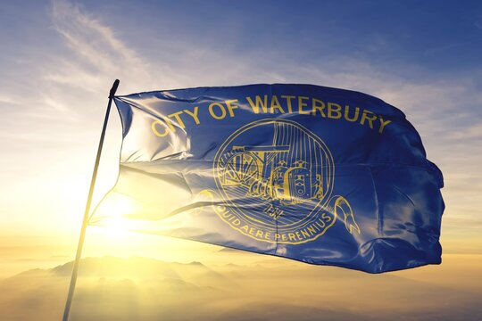 Waterbury of Connecticut of United States flag waving on the top