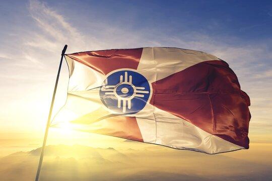 Wichita of Kansas of United States flag waving on the top