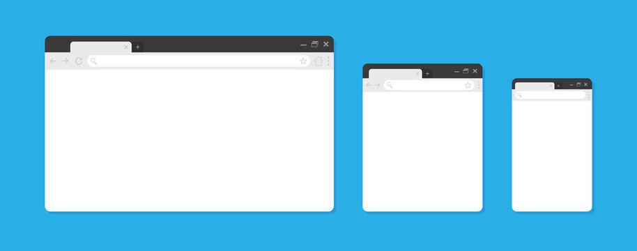 Blank browser windows. Browser mockups. Computer, tablet, phone sizes.