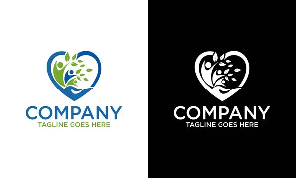 People Love Tree Logo Template. Abstract family icon. Together symbol. love hand,Vector logo