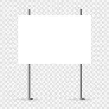 Yard sign mockup. White realistic advertising banner. Horizontal mock up vector illustration. Blank empty billboard isolated.