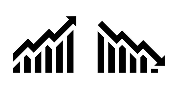 Growth vector icon. Graph or diagram with arrow going up and down. Graph rise and fall business. Vector illustration.