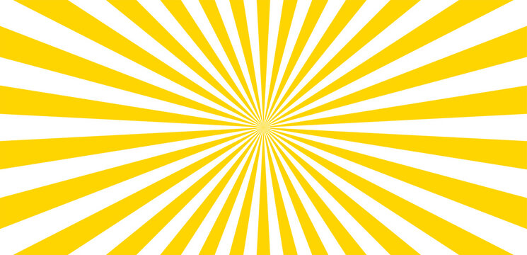Sun ray vector  background. Radial beam sunrise or sunset light retro design illustration. Summer yellow explosion backdrop.