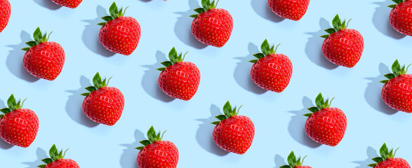 Fresh red strawberries overhead view