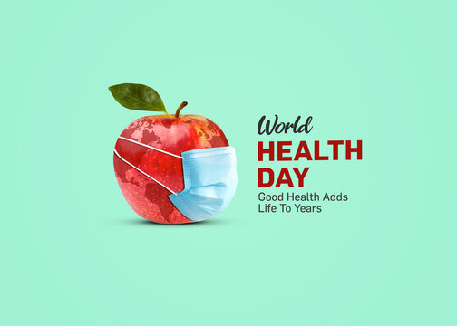 World Health Day Concept background. Good Health Adds Life To Years. Apple with mask health day concept.