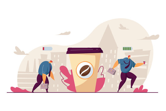 Tired office worker becoming energized after drinking coffee. Sad man with low battery buying cup of coffee and getting happy. Coffee break, low energy, energizer, stress, morning concept