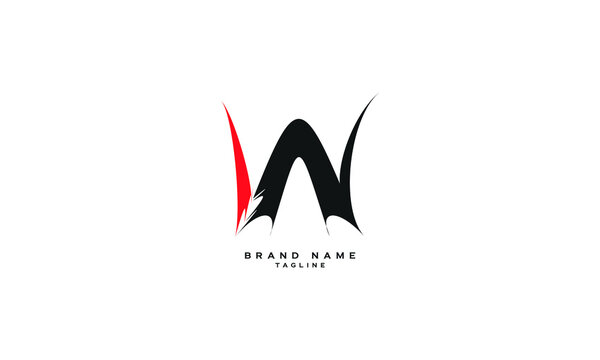 WN, NW, Abstract initial monogram letter alphabet logo design
