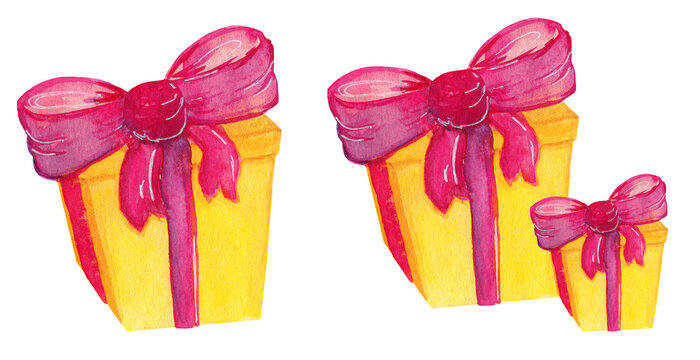 Yellow gift box with pink ribbon isolated on white background. Birthday party watercolor present surprise.