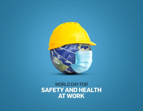 World Day for Safety and Health at Work concept.The planet Earth and the helmet symbol of safety and health at work place.