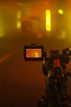 view through viewfinder video camera digital on LED studio shot