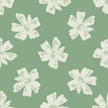 Simple style seamless pattern with light grey abstract flower elements. Light green background. Doodle print.