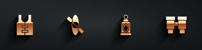 Set Life jacket, Kayak or canoe, Camping lantern and Binoculars icon with long shadow. Vector