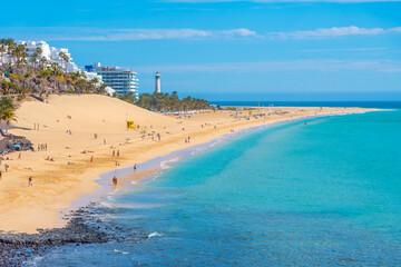Aerial view of Playa de Matorral at Morro Jable, Fuerteventura, Canary islands, Spain