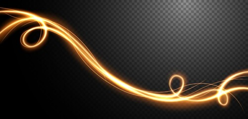 Fototapeta Abstract light speed motion effect, gold light trail. Vector Illustration