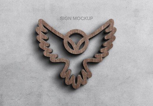 Wood on Wall Logo Sign Mockup