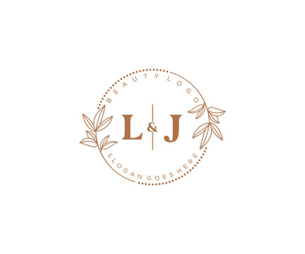 initial LJ letters Beautiful floral feminine editable premade monoline logo suitable for spa salon skin hair beauty boutique and cosmetic company.