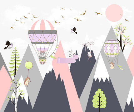 Children's wallpaper. Animals fly in balloons against the background of mountains.