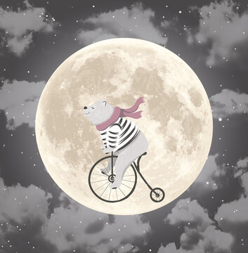 Children's wallpaper. Bear on a bike on the background of the moon.