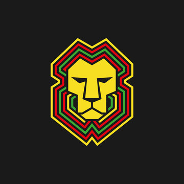 Lion of judah. geometric lion head. stay high face. Reggae music vector