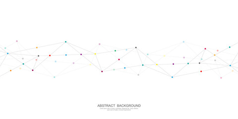 Abstract polygonal background with connecting dots and lines. Global network connection, digital technology and communication concept