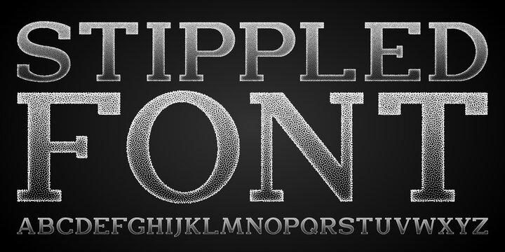 Stippled font. Unique design slab serif font with gradient stipple effect