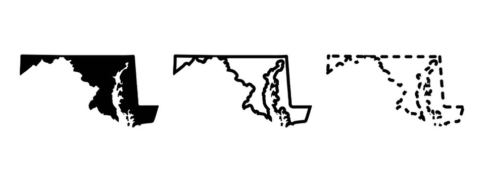 Maryland state isolated on a white background, USA map