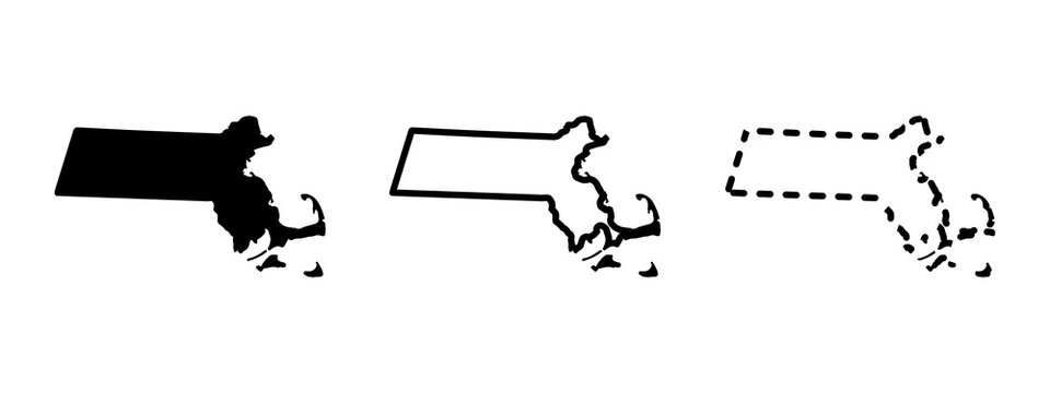 Massachusetts state isolated on a white background, USA map