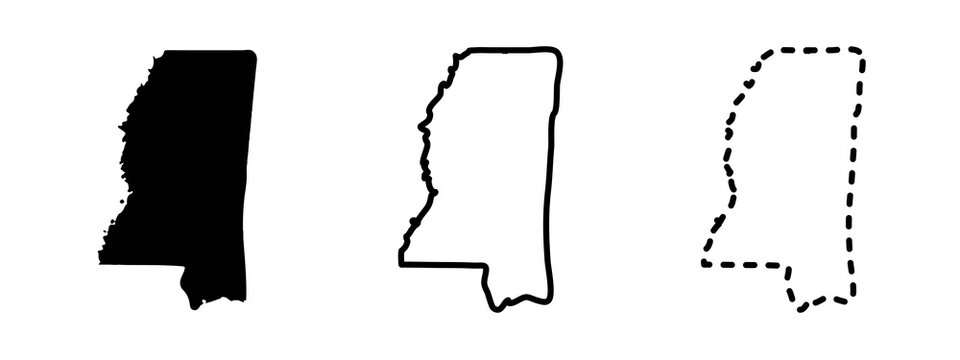 Mississippi state isolated on a white background, USA map