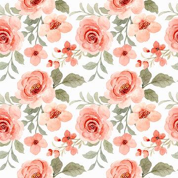Beautiful watercolor rose flower seamless pattern