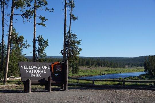 Yellowstone USA - 28 June 2013 - Yellowstone National Park - Entrance sign