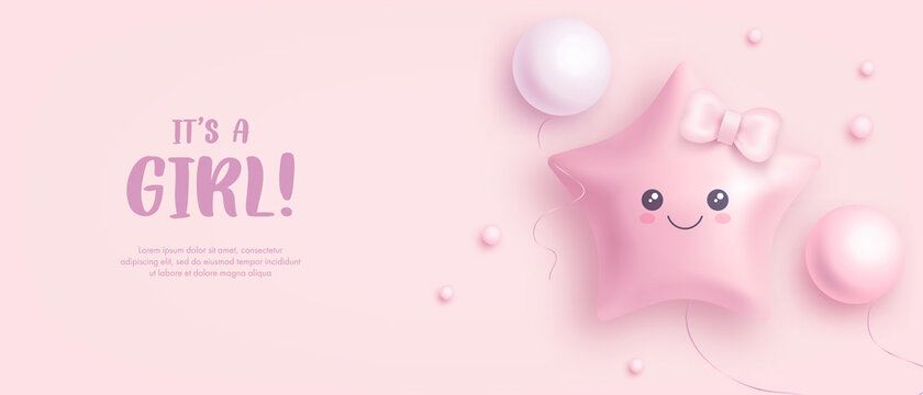 Baby shower horizontal banner with cartoon helium balloons on pink background. It's a girl. Vector illustration