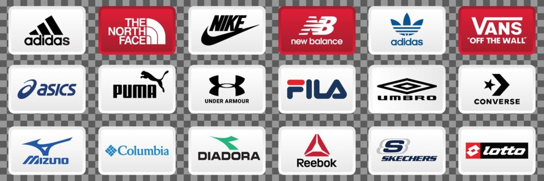 Collection of popular sportswear brands logo, Nike, adidas, Under Armour, Puma, The North Face. skechers, Columbia Sportswear, ASICS, Converse, Under Armour, Puma, Vector illustration