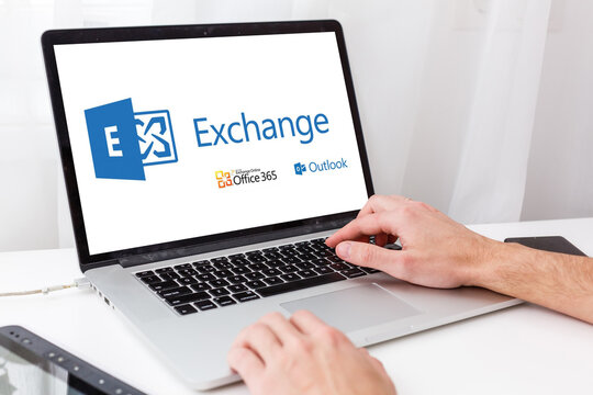 Kyiv, Ukraine - March 27, 2021. Notebook with Microsoft Exchange logo. Mail server and calendaring server developed by Microsoft