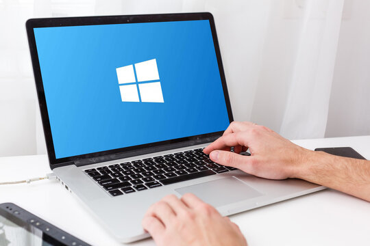 Kyiv, Ukraine - March 27, 2021. Notebook with Microsoft Windows 10 logo. Operating systems developed by Microsoft