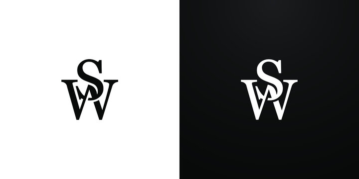 SW / WS initial logo  - elegant and stylish overlapping serif letter  design vector monogram