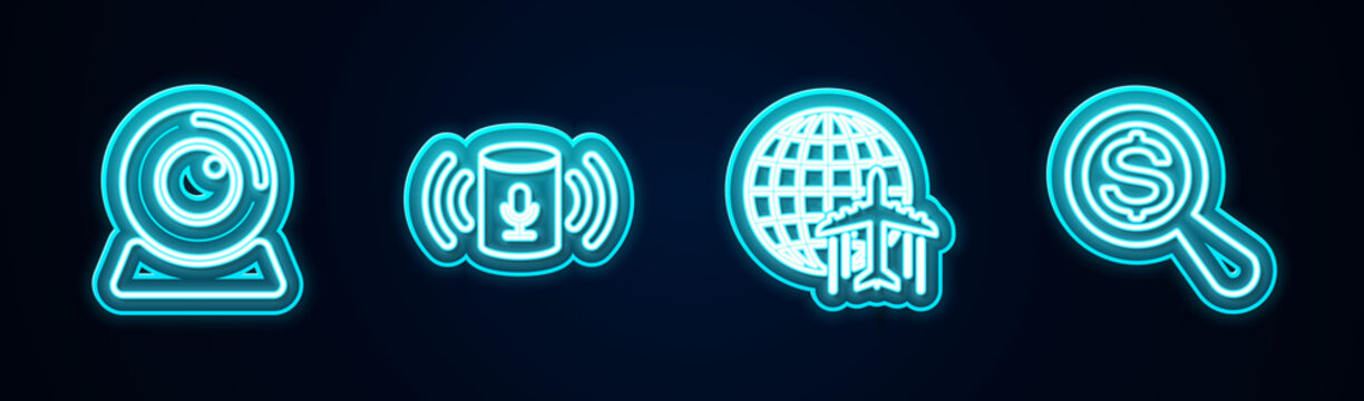 Set line Web camera, Voice assistant, Globe with flying plane and Magnifying glass and dollar. Glowing neon icon. Vector