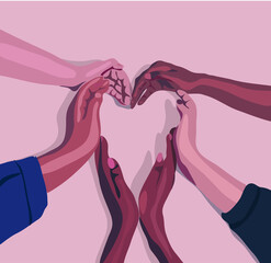 Fototapeta a group of people folded their hands in a heart.Diversity multiethnic people. Racial equality. Men and women of different culture and nations. Coexistence harmony. Multicultural community integration  obraz