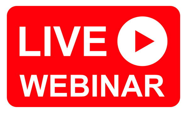 Live webinar icon, online play training seminar , internet streamimg  banner button , vector illustration