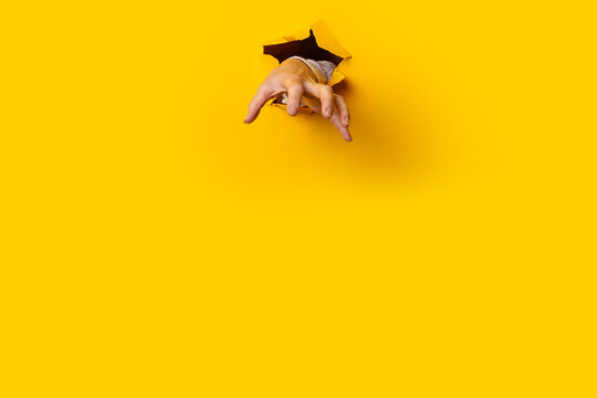 Woman's hand is extended and grabs something from a hole in the wall against a yellow background. Banner