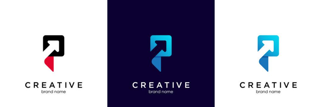 P letter logo arrow icon vector illustration