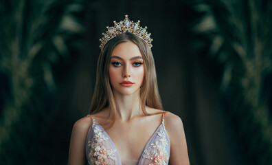 Fototapeta Portrait of fantasy medieval girl princess in dark gothic room. Woman queen looking at camera, beauty face. Vintage trendy glamour dress golden luxury crown, long loose blonde hair. Fashion model obraz