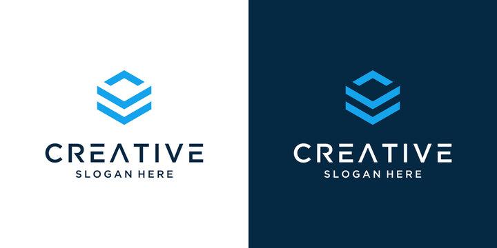 Modern letter v abstract logo design