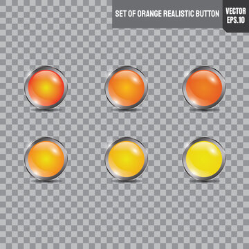 Set of orange and yellow button realistic with silver circle shape. vector eps10