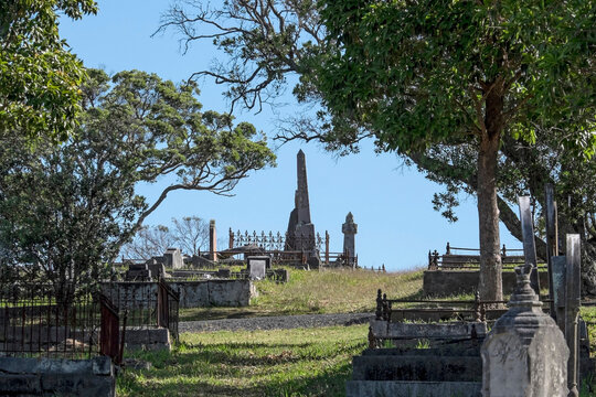 Old cemetery with leafy trees