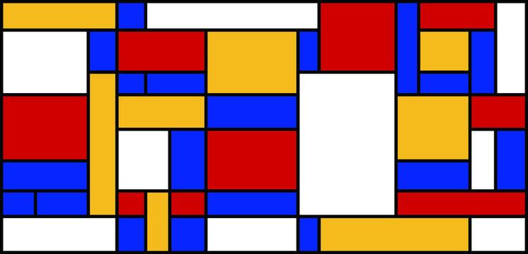 Graphic illustration of Mondrian painting